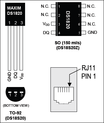 DS1820 sensor pin-outs