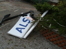 ALSTOM sign in ruins at Trafford Park in Manchester